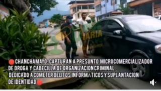 CHANCHAMAYO: CAPTURA A PRESUNTO MICROCOMERCIALIZADOR DE DROGA Y CABECILLA DE ORGANIZACION CRIMINAL DEDICADO A COMETER DELITOS INFORMÁTICOS Y SUPLANTACION DE IDENTIDAD