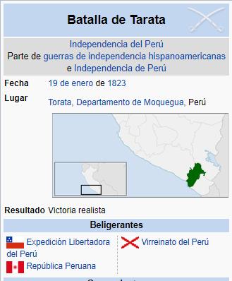 UN DIA COMO HOY 19 DE ENERO DE 1823 FUERZAS REALES DERROTAN ALAS PERUANAS EN TARATA