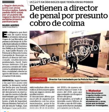 POR PEDIR COIMA DETIENEN A DIRECTOR DE PENAL DE CHANCHAMAYO EN INTERVENCIÓN FISCAL Y POLICIA ANTICORRUPCION