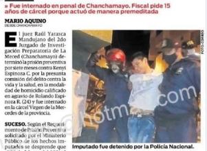 JUEZ DICTA SIETE MESES DE PRISION PREVENTIVA PARA PRESUNTO ASESINO