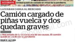CAMION CARGADO DE PIÑA VUELCA POR MAL ESTADO DE CARRETERA Y DEJA COMO SALDO DOS HERIDOS DE GRAVEDAD